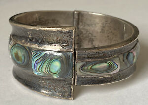 Vintage TAXCO Sterling Silver /& Abalone Bypass Clamper Spring-Hinge 2 Wide Cuff Bracelet TR-164 MEXICO