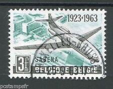 BELGIQUE 1963, timbre 1259, AVIATION, AVION, ANNIVERSAIRE SABENA, oblitéré
