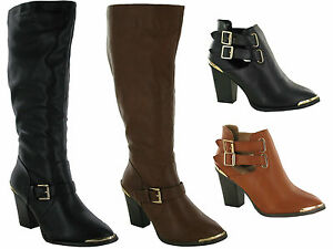 WOMENS-LADIES-HEEL-CHELSEA-SHOES-CHUNKY-CUT-OUT-TRIM-BIKER-BUCKLES-ANKLE-BOOTS