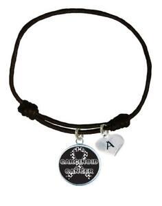 Custom-Carcinoid-Cancer-Awareness-Black-Leather-Unisex-Bracelet-Jewelry-Initial