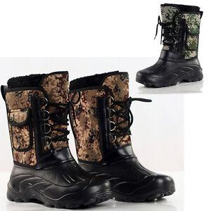 New Men/'s Outdoor Snow Boots Leaves Camo Waterproof Fishing Boots Shoes Fleece