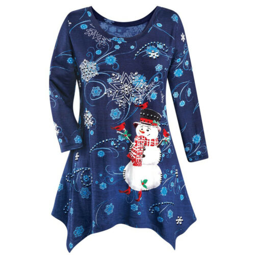 Womens Christmas Snowman T Shirt Long Sleeve Xmas Party Blouse Tops Plus Size UK