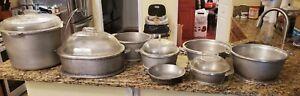 VINTAGE 1960s  Guardian Service Cookware Hammered Aluminum Pots-8 Total /4 Lids