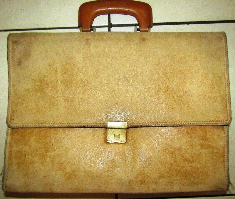 Genuine Leather Multi-Compartment Lockable Brief Case