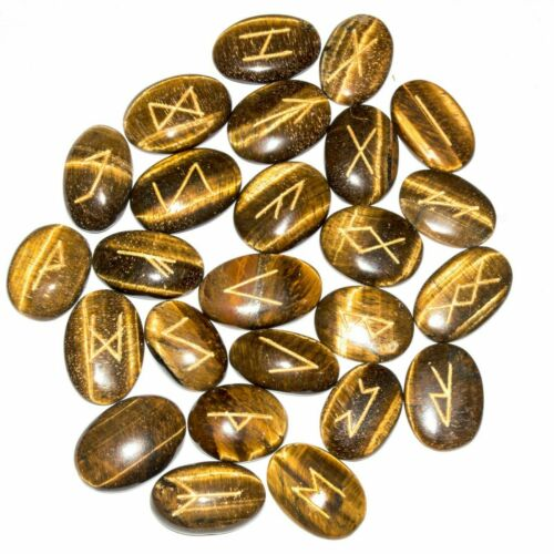 25 Pcs Tiger Eye Oval Shape Rune Set With symbol Reiki Healing Spiritual Decor