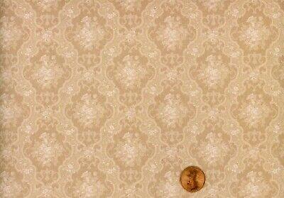 3 Sheets of Damask Green  61A6123 Dollhouse Wallpaper