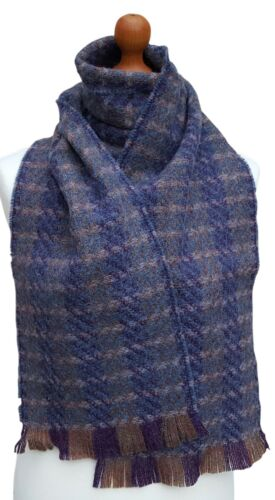 """MENS Shetland Wool Woven UK Manufactured Checked Purple Blue Scarf 64/"""" x 9/"""""""