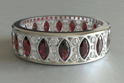 4ct Marquise Cut Red Garnet Wedding Band Full Eternity 14k White Gold Finish