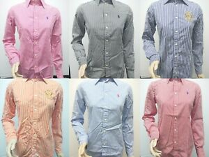 New-with-Tag-Polo-Ralph-Lauren-Women-039-s-Long-Sleeve-Striped-Button-Up-Shirts-XS-L