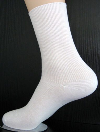 35 bis 42 4 Paar Damen Socken ohne Gummi 100/% Baumwolle 1//1 Rippe weiß uni Gr