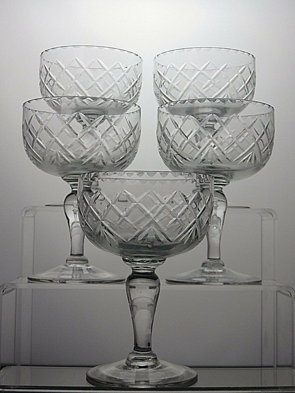 Cut Glass Crystal Dessert Bowls Ice Cream Champagne Coupe Tall Sherbet Set Of 5 Ebay