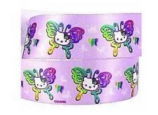 "3 Yards HELLO KITTY 7/8"" Purple Butterfly Satin Ribbon Offray Decorative Craft"