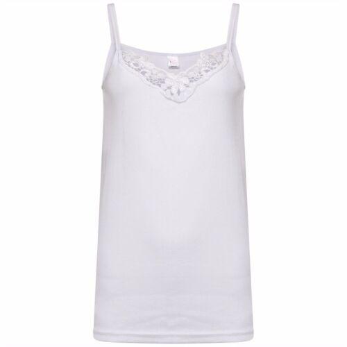 Ladies 8-18 White Cotton Vest Top Lace Trim Cami Tank Strappy Camisole Lot LICK
