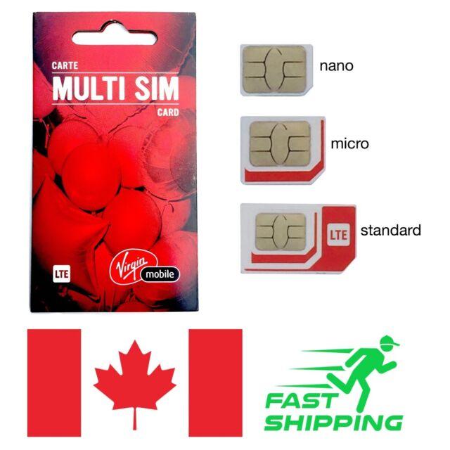 Virgin Mobile Multi Sim Card + ships same day from Canada - prepaid / postpaid