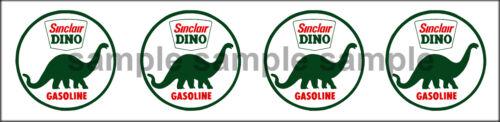 1.25 INCH SINCLAIR DINO GASOLINE GAS STATION TANKER ROUND DECAL STICKER 4 DECALS