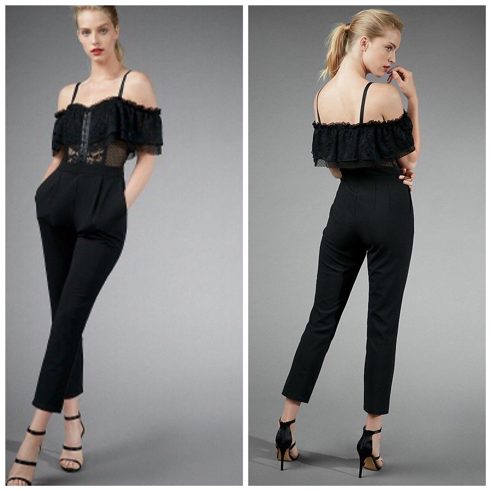 NEW EXPRESS lace cutaway ruffle off shoulder dress jumpsuit partayyyy sz 4 NWT