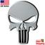 3D-Metal-Punisher-Emblem-Sticker-Skeleton-Skull-Decal-Badge-Motorcycle-WHITE miniature 2