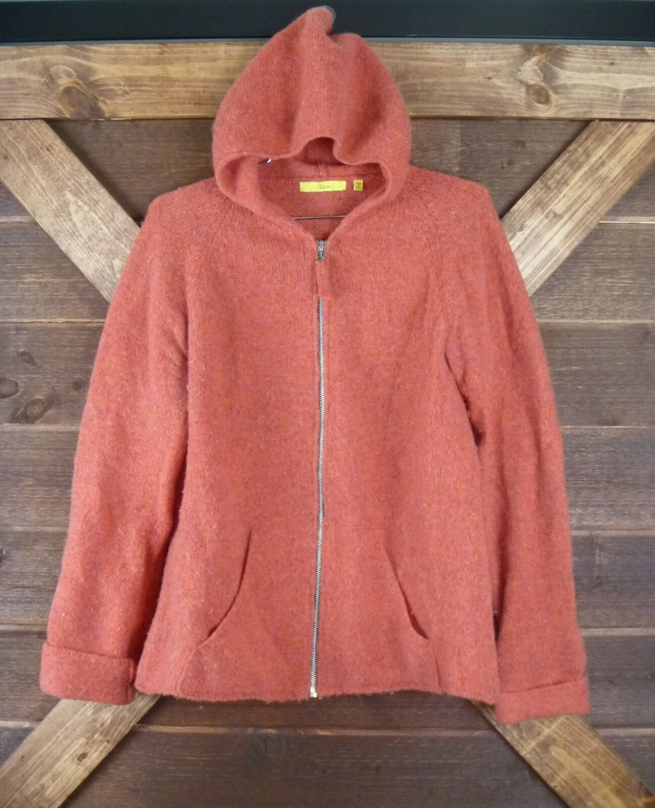 1990s LLUIS WOMENS SIZE LARGE LARGE LARGE HOODED 100% LAMBSWOOL ZIP-UP SWEATER GC YKK RD OR 68840e