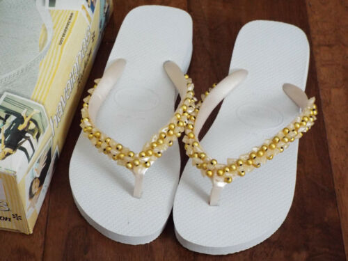 Havaianas Fashion Flip-Flops Sandals White Beaded NEW in Box US 9 EUR 43//44