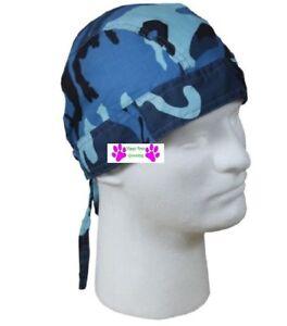 6b6f77ab33 Details about BLUE Urban City CAMO FITTED TIED BANDANA Skull Cap Head Wrap  Do Du DOO RAG DURAG
