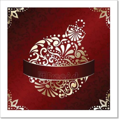 F Elegant Christmas Card In Red Art Print Home Decor Wall Art Poster