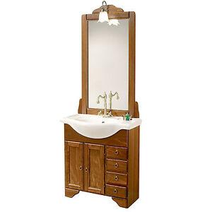 Mobile bagno arte povera legno lavabo 75 cm specchio e applique ...