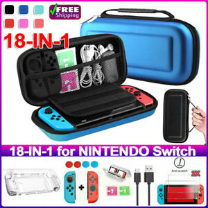 For Nintendo Switch Carry Case Storage Bag+Cover+Tempered Glass Accessories Kit