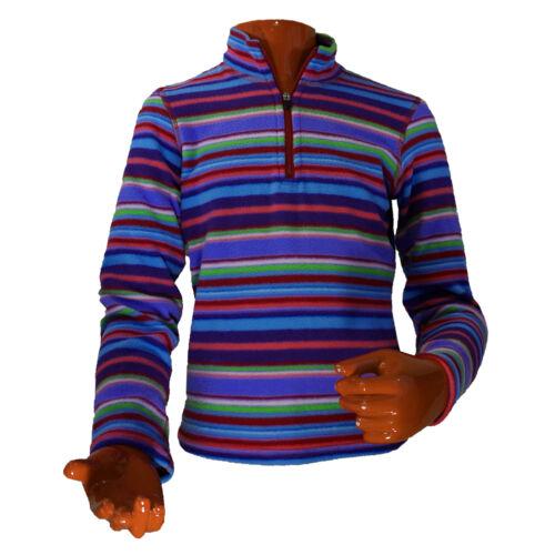 Hot Chillys Kids Zip T Pepper Fleece Base Layer Fiesta Stripe Berry PF4614 XS