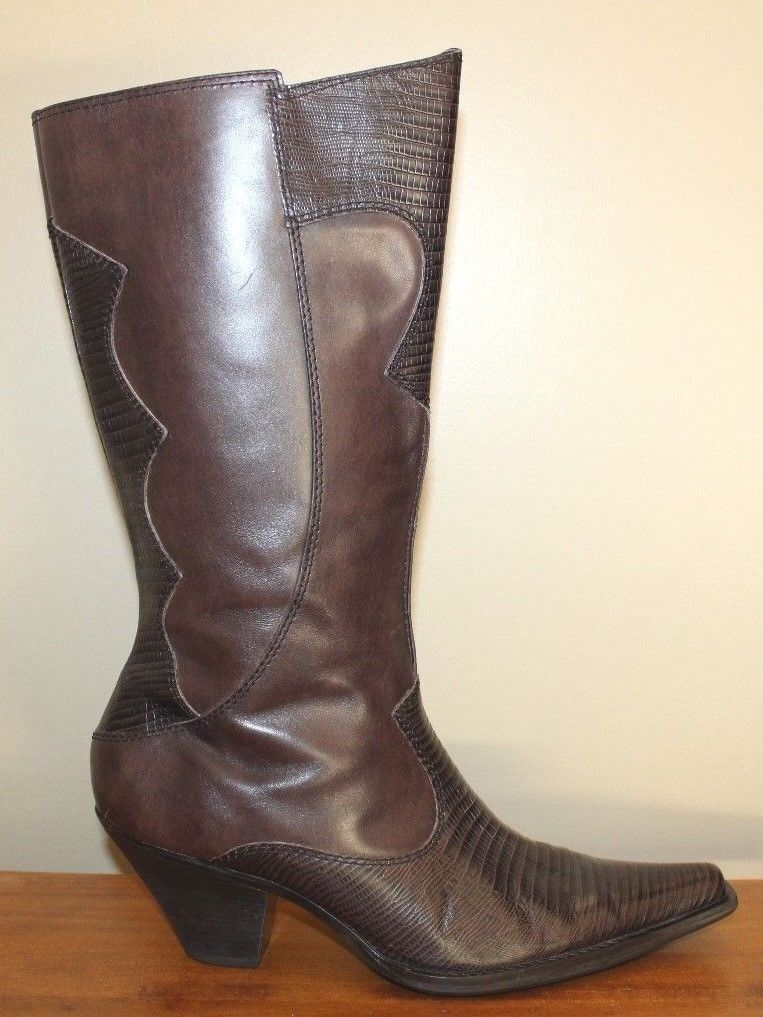 Maria Lya Womens Boots Sz 10 M Brown Leather Upper With Lizard Print Tall Brazil