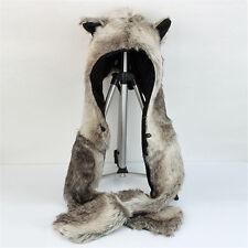 Brown Bear Faux Fur Animal Hood Hat 3 in 1 Function Fuzzy Ear Long Flap w/Scart