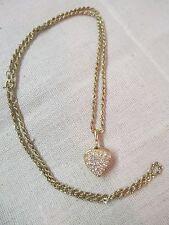 Gold tone Chain & Rhinestone Heart Locket