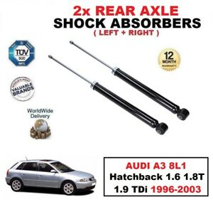 2x REAR SHOCK ABSORBERS for AUDI A3 8L1 Hatchback 1.6 1.8 T 1.9 TDi 1996-2003