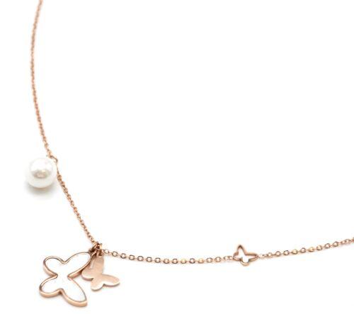 CC2730E Collier Fine Chaîne Acier Or Rose Pendentif Papillons Nacre et Perl...