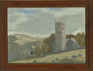 Ronald-A-Broad-Mid-20th-Century-Oil-Church-on-the-Hill