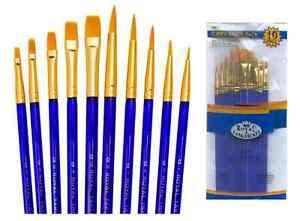 Royal Brush Gold Taklon Paint Brushes 10pc Set Svp7