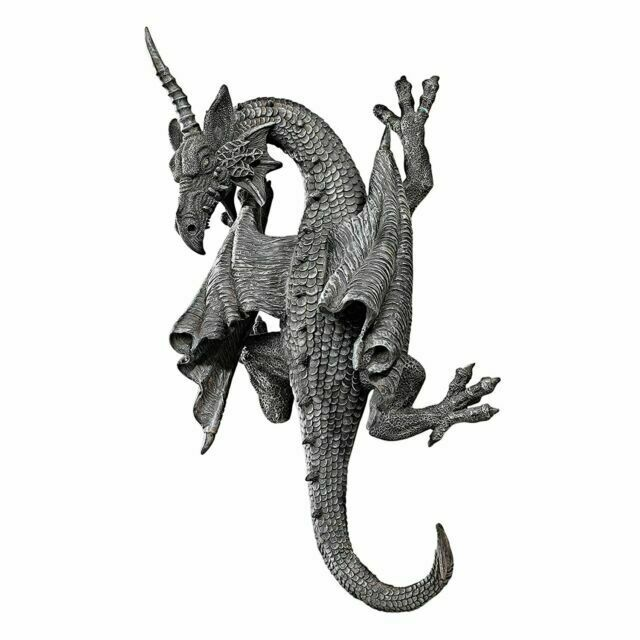 Horned Dragon Wall Sculpture Gothic Medieval Art In Out Door Patio Garden Decor