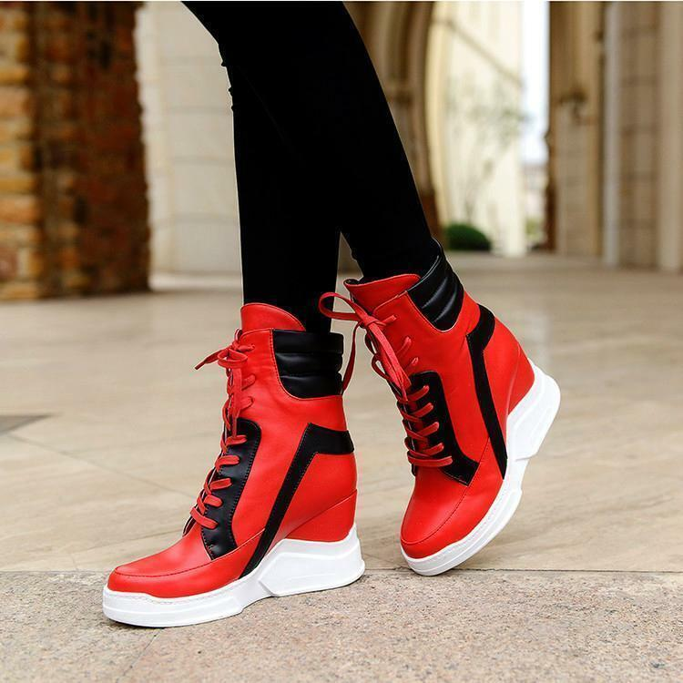 Fashion Womens Wedge Heel High Top Ankle Boots Lace Up Platform shoes Sneakers