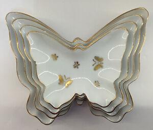 Vintage Porcelain Butterfly Nesting Trinket Dishes Trays Gold Trim Set Of 4