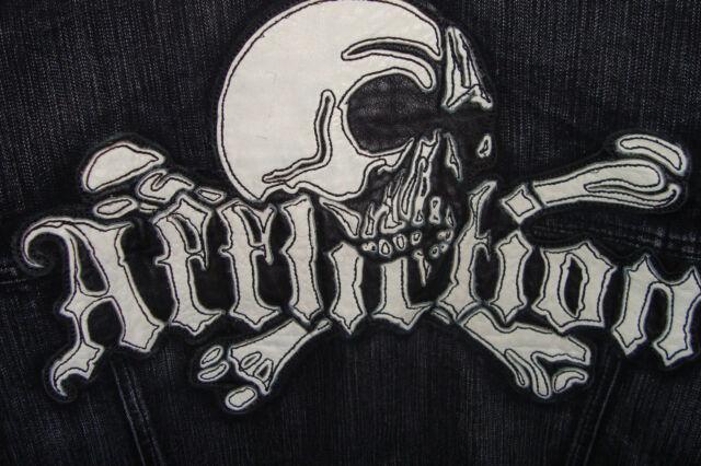 New Affliction Black Denim Leather Cross Skull Men's Jacket Size Large