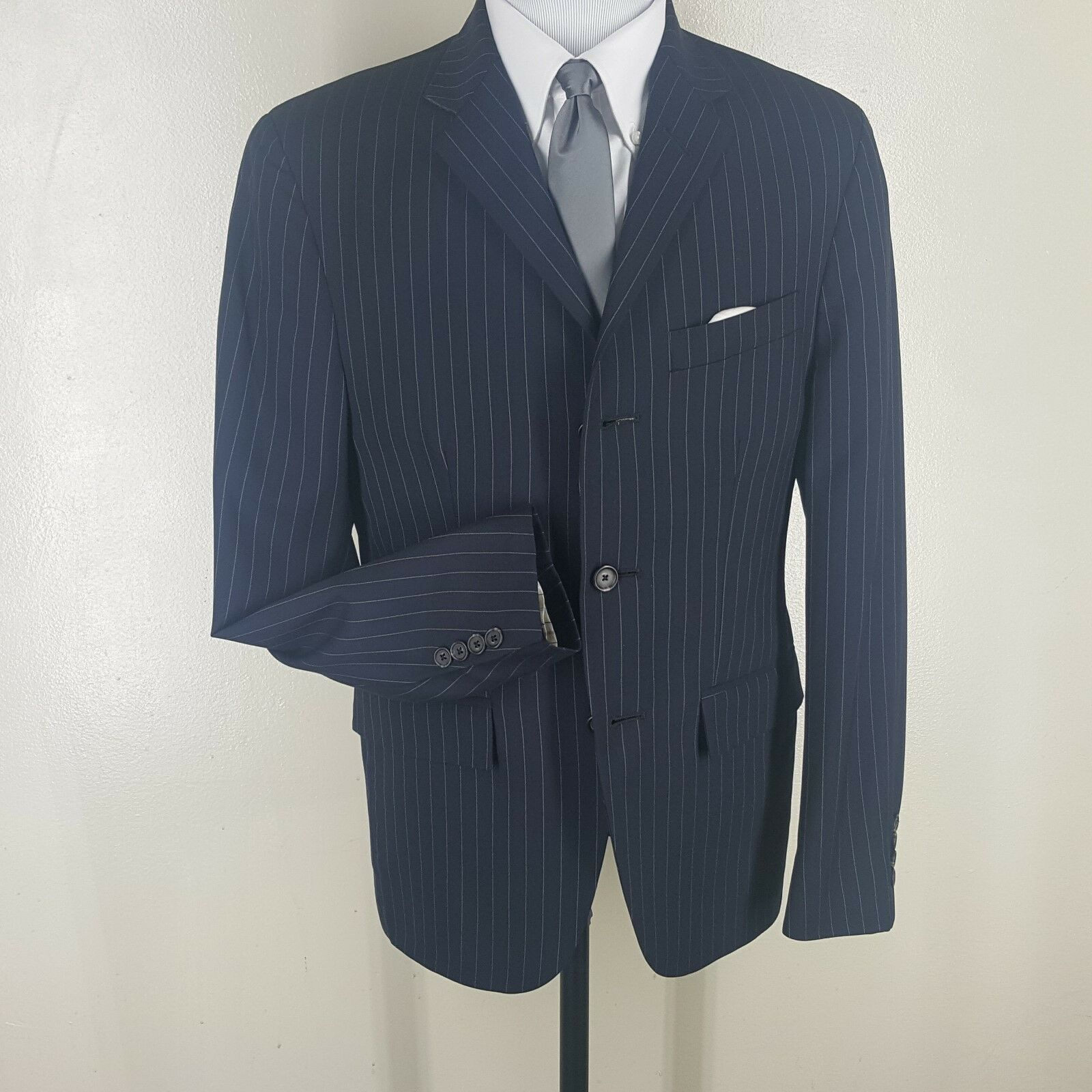 RUGBY RALPH LAUREN USA bluee Pinstripe Wool Suit 3 Btn  40 Sh   Fit  38-40 Short