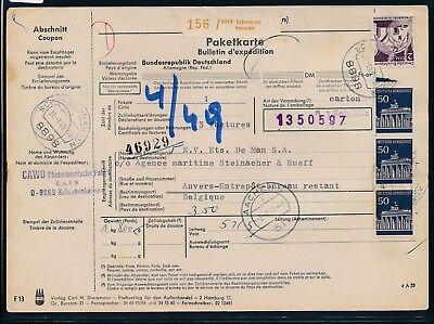 11901) Auslandspaketkarte 1969 Nach Belgien, Mif 350pf Ab Schrobenhausen Um Der Bequemlichkeit Des Volkes Zu Entsprechen