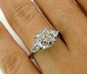 2-5CT-Cushion-amp-Pear-Cut-Moissanite-3Stone-Engagement-Ring-14K-White-Gold-Finish