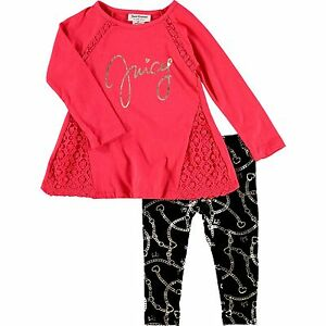 a219a85ea JUICY COUTURE girls 2 pc LS lace trim TUNIC & LEGGING SET 3Y BNWT ...