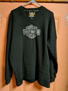 Harley-Davidson-Embroidered-Long-Sleeve-Sweatshirt-Mens-Size-XL-Black