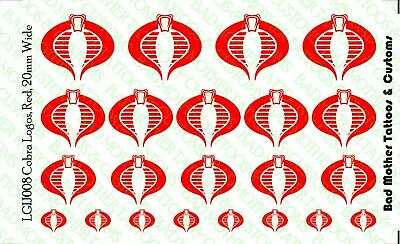 GI JOE COBRA Logo Waterslide Decals pour 1//18 et 1//12 figures