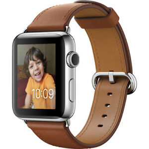 Apple-Watch-Series-2-42mm-Stainless-Steel-Case-Saddle-Brown-Classic-Buckle-Band