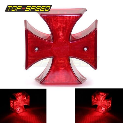 For Harley Choppers Custom Lucky LED Cross Red Lens Motorcycle Rear Tail Light