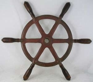 "Antiques Selfless Antique Salvaged Bronze 20.5"" Ship Wheel Mahogany Handles Reliable Performance Maritime Wheels"