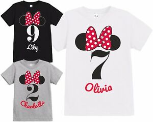 2653e57e3 OFFICIAL GIRLS DISNEY MINNIE MOUSE BOW & EARS PERSONALISED BIRTHDAY ...