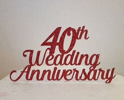 Wedding Anniversary Glitter Card Or Acrylic Cake Topper Any Number 19cm Wide Ebay